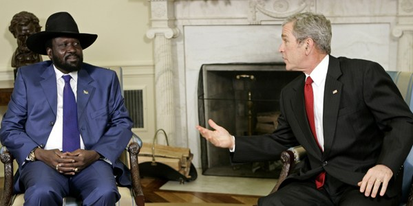 President Bush meets with Sudan vice president at the White House in Washington